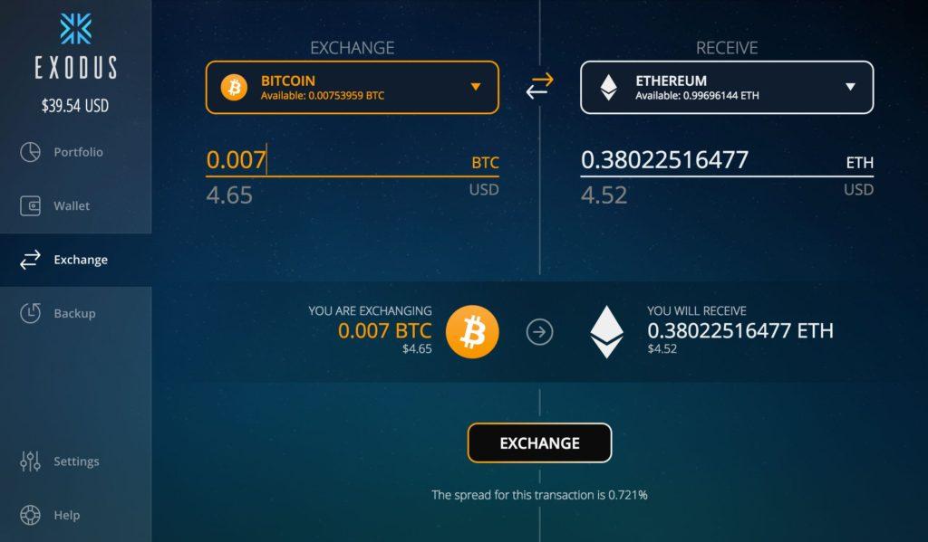 вкладка exchange