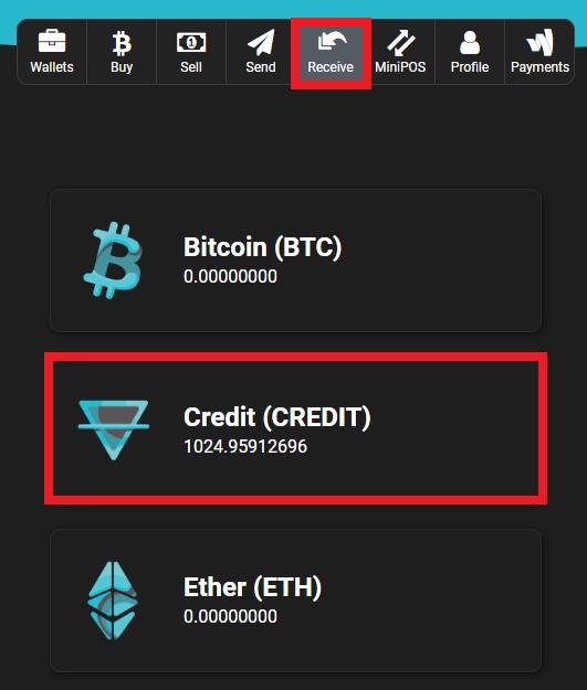 Receive Credit