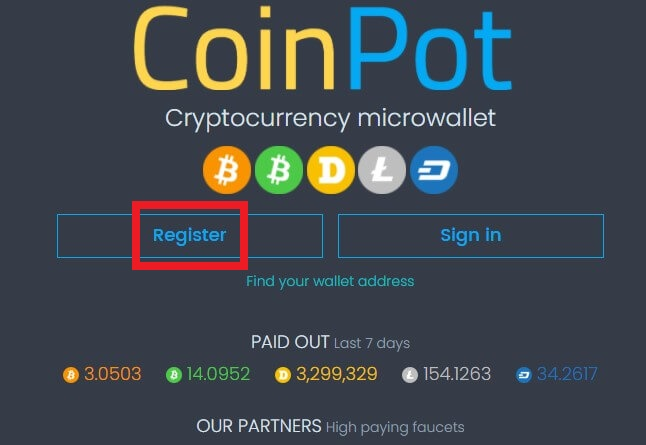 Регистрация в Coinpot