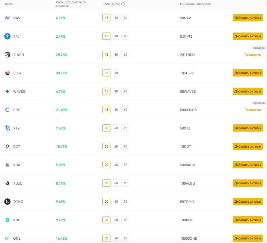 список доступных криптовалют для стейкинга на бирже binance