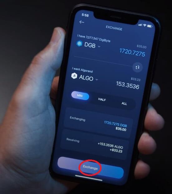Обмен dgb на algo в exodus app