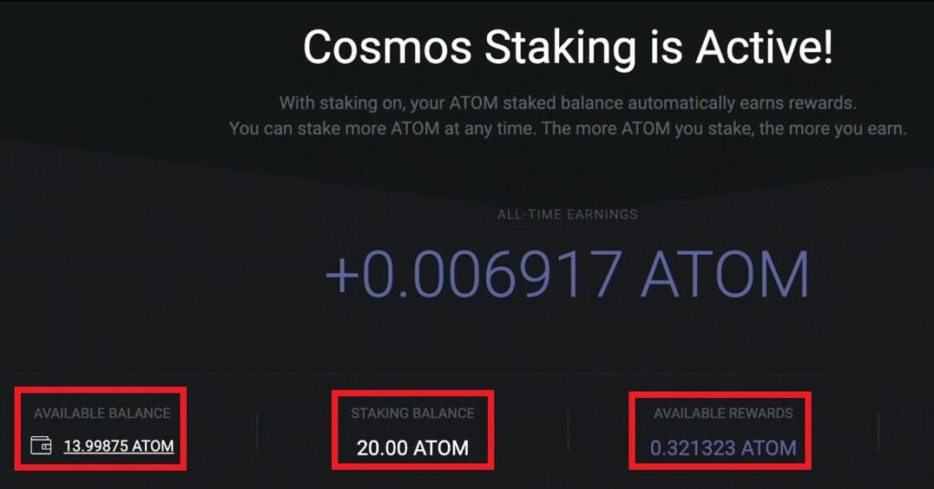 cosmos atom стейкинг активен