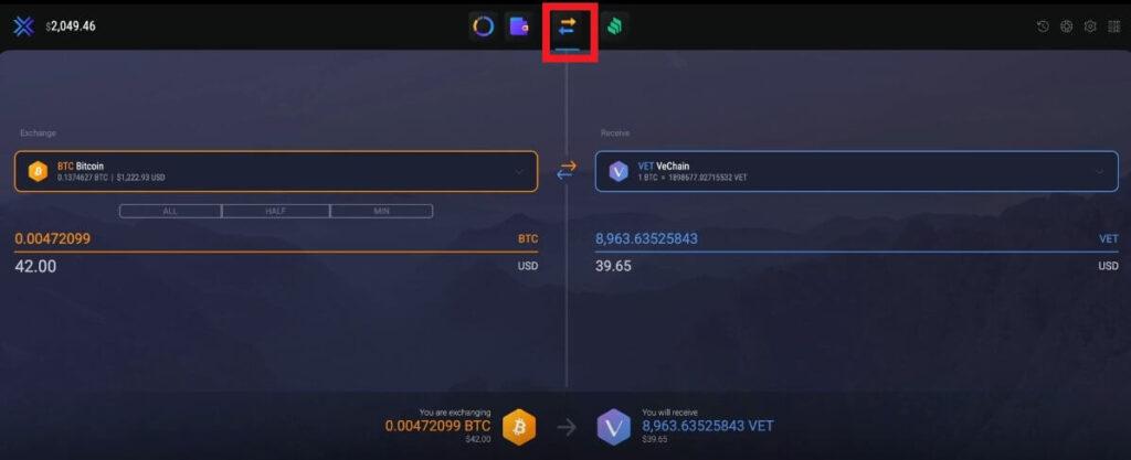 Как обменять криптовалюту на VeChain в Exodus?